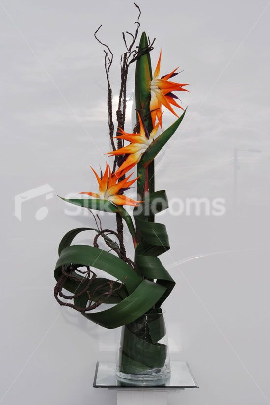 Gorgeous Artificial Bird Of Paradise and Leaf Arrangement w/ Curly Wood