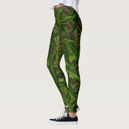 Weed Leaves on Wood Green and Brown Jungle Leggings - cool gift idea unique present special diy