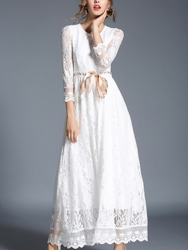 688cb18f5d Shop - White Tie Waist Hollow Out Lace Maxi Dress on Metisu.com. Discover  stylish and vogue women s dresses for the season. Regular discounts up to  60% off.