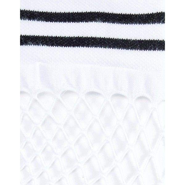 ASOS Stripe Welt Fishnet Socks In White ($6.08) ❤ liked on Polyvore featuring intimates, hosiery, socks, white striped socks, ankle high hosiery, asos, asos socks and ankle high socks