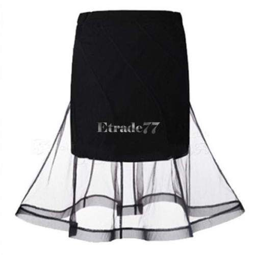 Hot-Womens-Ladies-Flared-Mesh-Bandage-Bodycon-High-Waisted-Midi-Skirt-Summer-EA