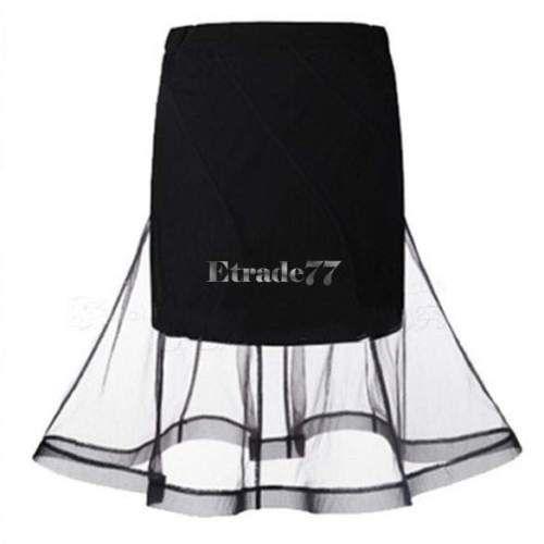 Hot-Womens-Ladies-Flared-Mesh-Bandage-Bodycon-High-Waisted-Midi-Skirt-Summer-EA