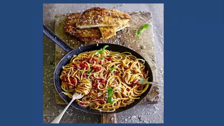 Nice Chicken milanese with spaghetti #photo #image #food