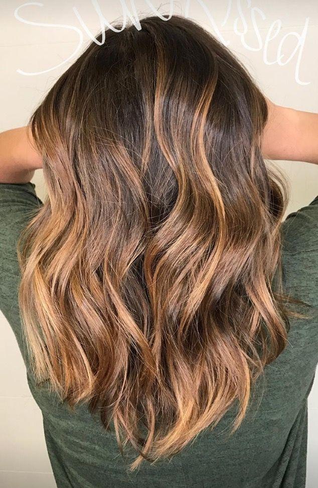 balayage sun kissed lob brunette caramel highlights summer hair