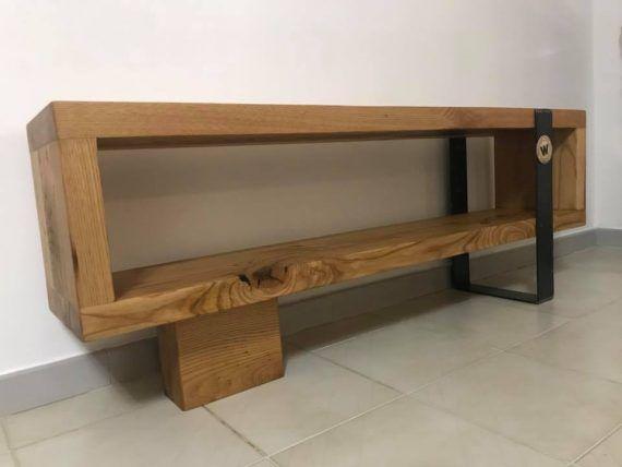 Consolle porta TV in legno massello di castagno antico con ...