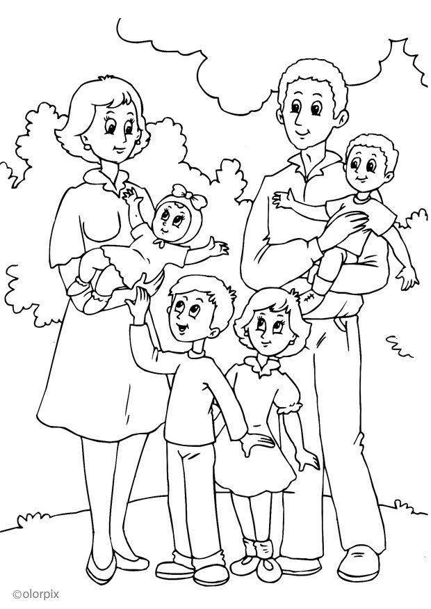 Thema familie -> kleurplaat