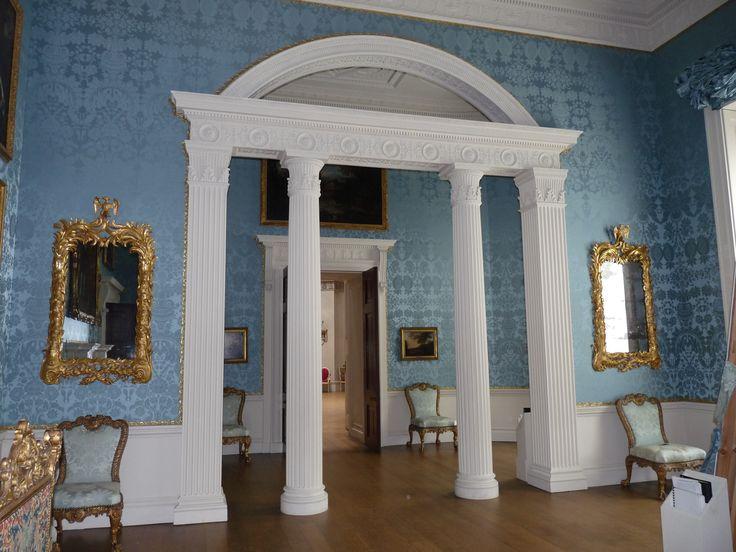 Keddleston House, The Saloon and Bedroom walling and furntiure restoration in pure silk narrow width damask. @KedlestonNT #walling #furniture #blue #damask #fabric #weaving #interior #design.  www.humphriesweaving.co.uk