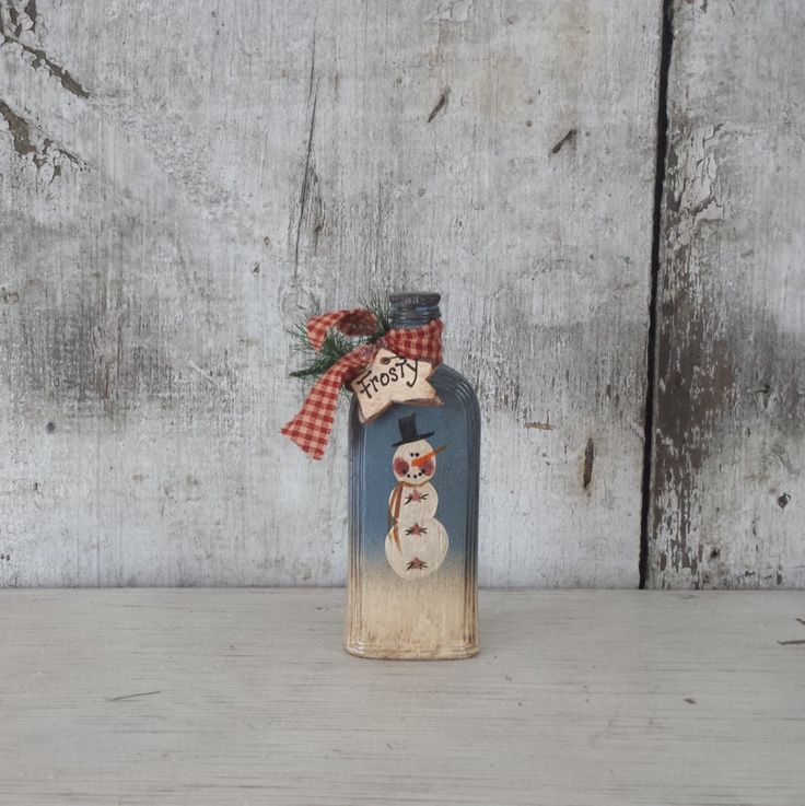 Primitive Country Snowman On Vintage Bottle, Primitive Frosty,Snowmanu2026