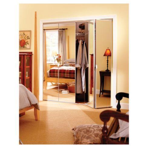 Kit puerta closet plegable con espejo 76x205 cm
