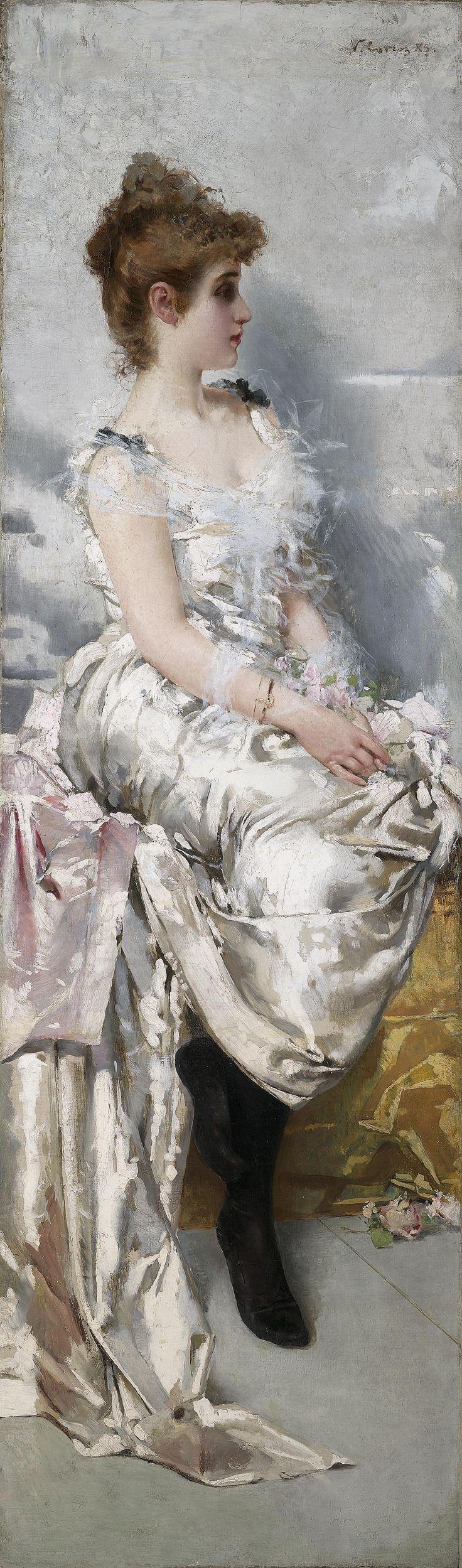 Vittorio Matteo Corcos Ritratto di giovane donna in abito binaco