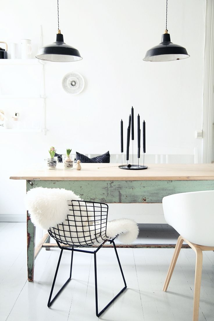 Monochrome and wood and mint table