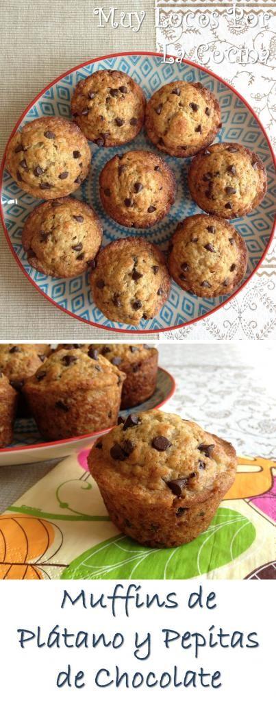 Muffins de Plátano y Pepitas de Chocolate: Una delicia para los más golosos! :-)