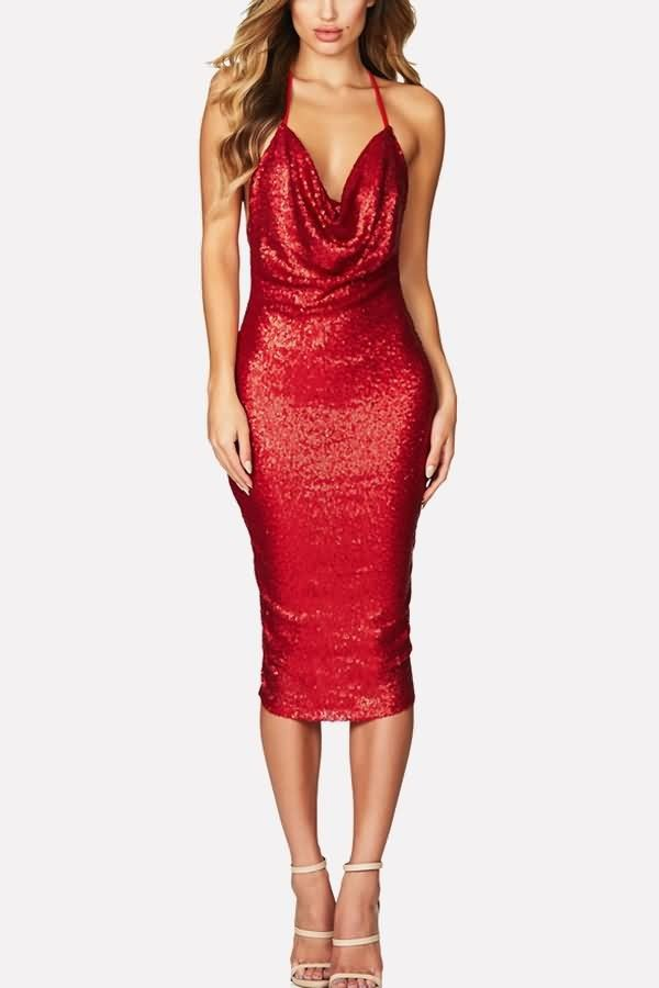 be0e8f2136786 Red Spaghetti Straps Backless Sexy Midi Party Sequin Dress #051700 ...