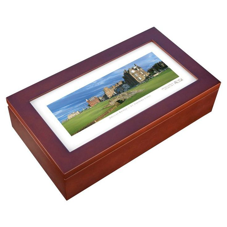 Stonehouse Mahogany Cigar Humidor -- Famous Golf Courses - STOLDH