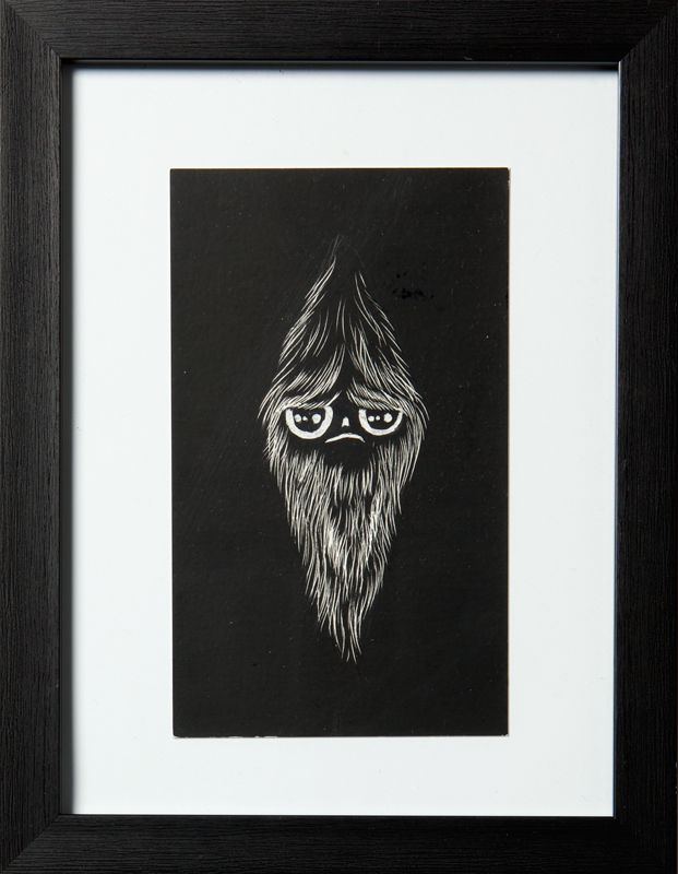 SPIRIT 2 Artist: Ossi Pirkonen, 2012. Drawing, black scratchboard. 15x20 cm. More works from the artist at www.tabulaland.com/tuote-osasto/taiteilijat-osasto/ossi-pirkonen/