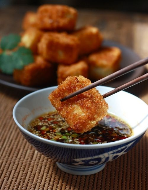 Fried Tofu with Sesame-Soy Dipping Sauce I don't usually eat fried food but my mouth is watering just looking at this!