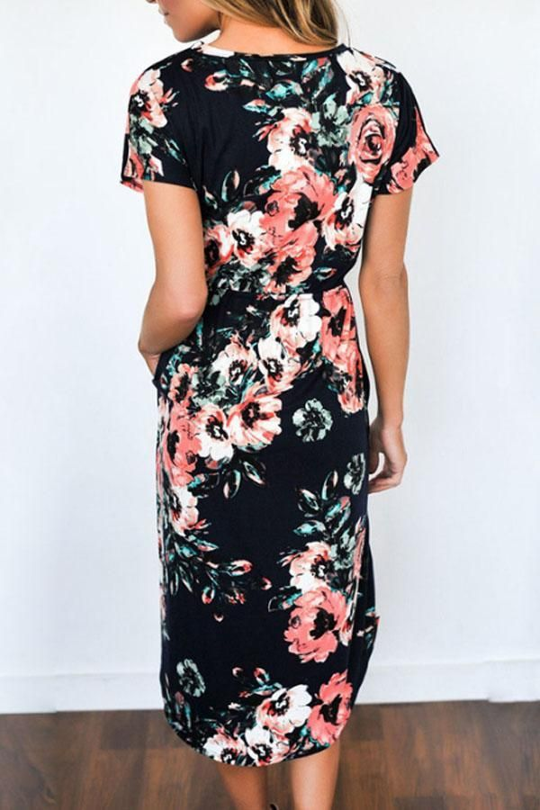 88f1b9829f66 Sheinstreet Fashion Stylish Spring and Summer Round Neck Bust Darts Floral  Printed Short Sleeve Maxi Dresses