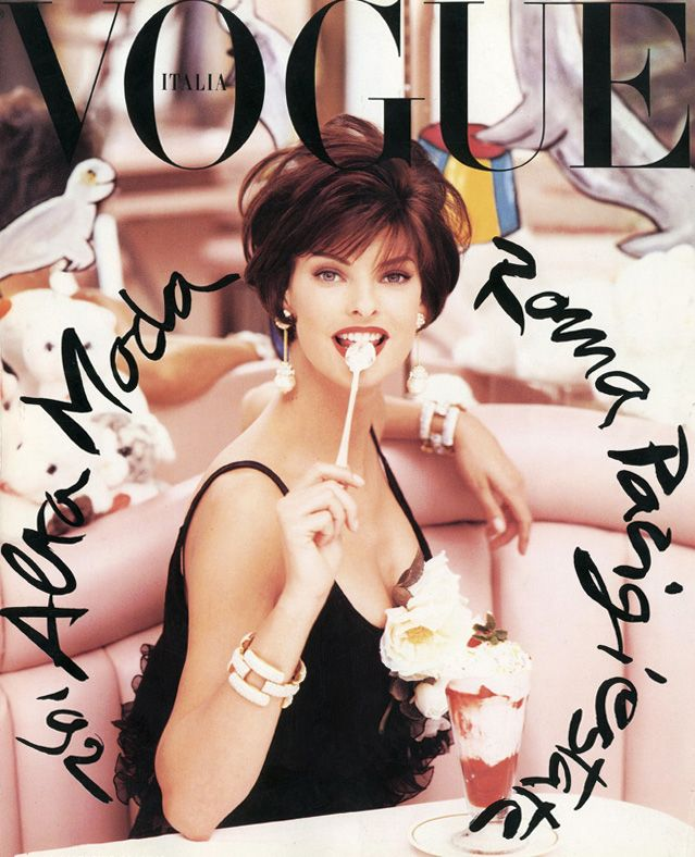 Linda Evangelista photographed by Steven Meisel for Vogue Italia, 1992. Styled by Lori Goldstein. #fashion #style