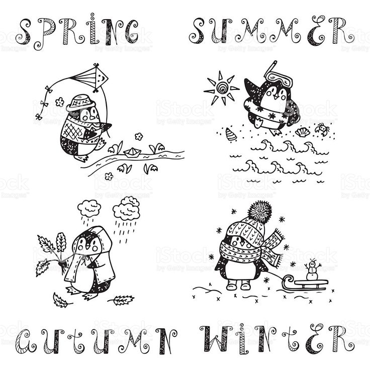 Ручной обращается рисунок пингвины.  Четыре сезона установлены.  Времена года.  роялти-фри векторной графики