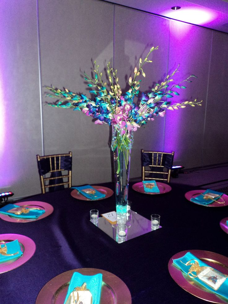 Wedding reception purple teal gold i said yes
