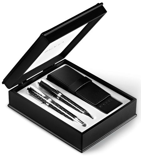 Balmain Executive Pen Set - Balmain Paris Suppliers in South Africa Stunning Executive pen set with leather pen pouch, presented in gift box. Great corporate gifts #balmain #gifts #giftset #corporategifts