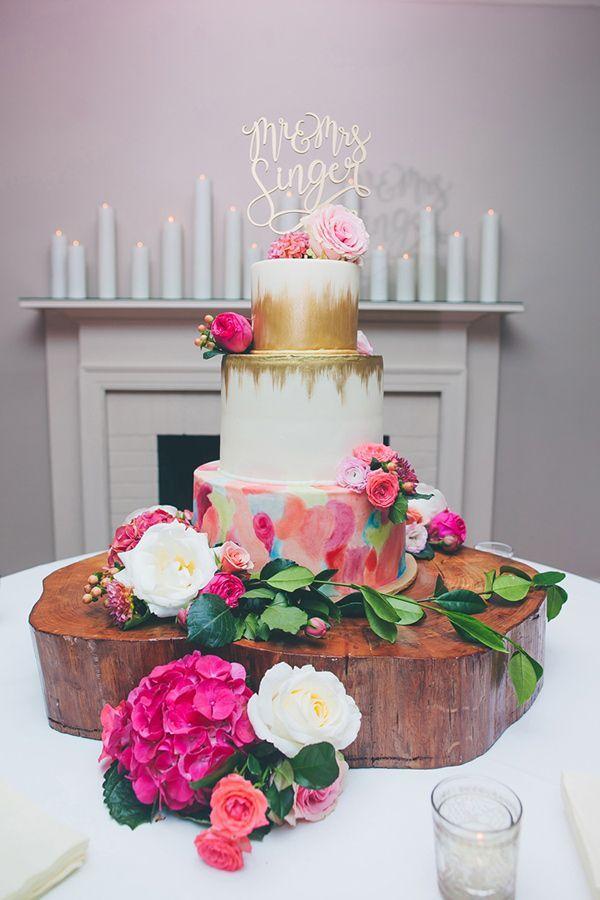 gold ikat wedding cake, gold, pink, boho wedding ideas, bohemian wedding cake, watercolor cake ideas
