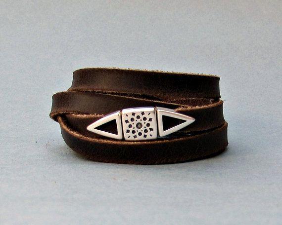 Multistrand Men's Leather Wrap Bracelet Cuff Boho by GUSFREE