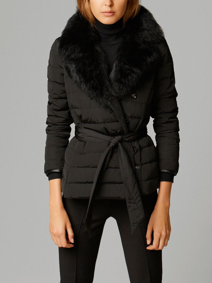 QUILTED DOWN JACKET WITH FUR
