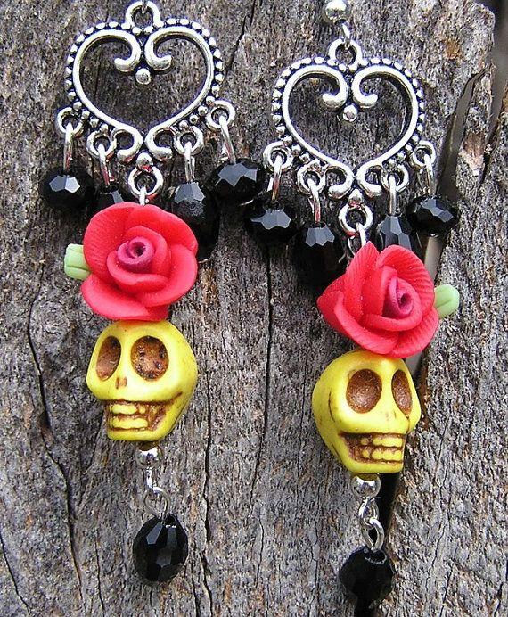 Frida Day of the Dead Earrings Wedding Bride Bridal by shabbyskull, $20.00