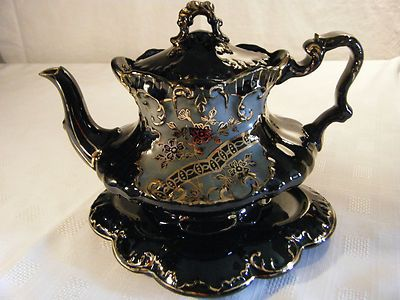 ORNATE BLACK WITH GUILDING VICTORIAN TEAPOT WITH STAND