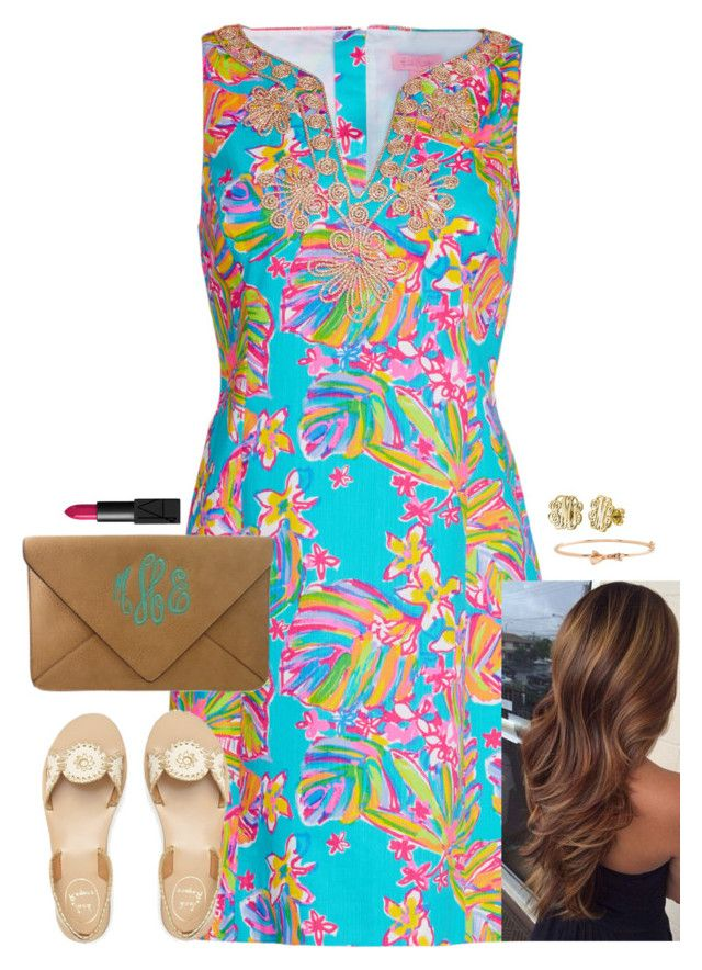 """""""10 sets for Jude! 2nd set!"""" by kaley-ii ❤ liked on Polyvore featuring Lilly Pulitzer, Jack Rogers, Kate Spade, My Name Necklace, NARS Cosmetics and 10setsforjude"""