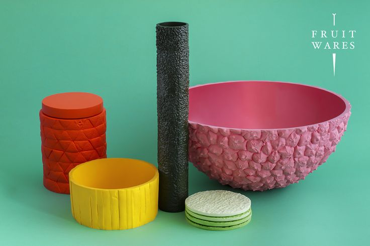 Fruit Wares by Mathery, resin vessels inspired by the beauty of fruit skin.