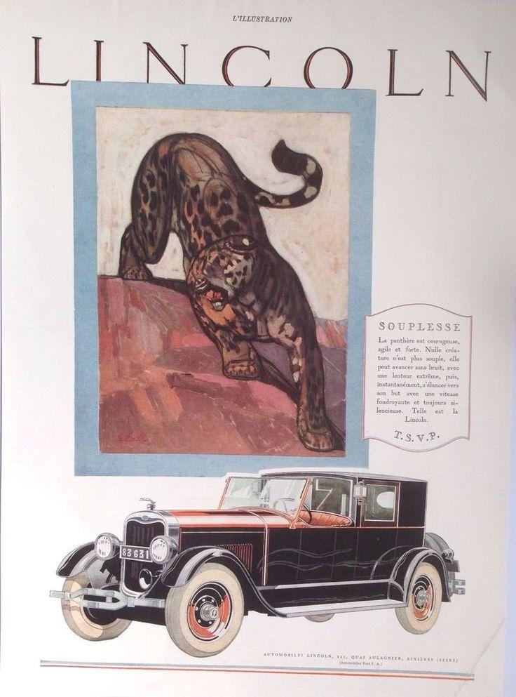 LINCOLN L-SERIES AD RETRO PANTHER ANTIQUE CAR 1920s original vintage advertising