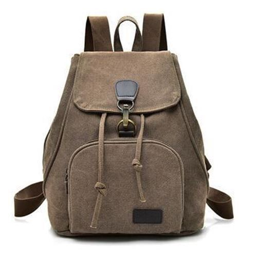 Cell Phone Pocket Soft Handle Canvas Material Backpack For Teenager Girl