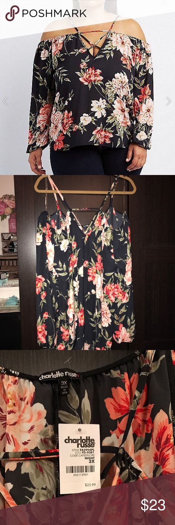 Charlotte Russe floral strappy top NWT Charlotte Russe floral strappy cold shoulder top. Bought recently Charlotte Russe Tops Blouses