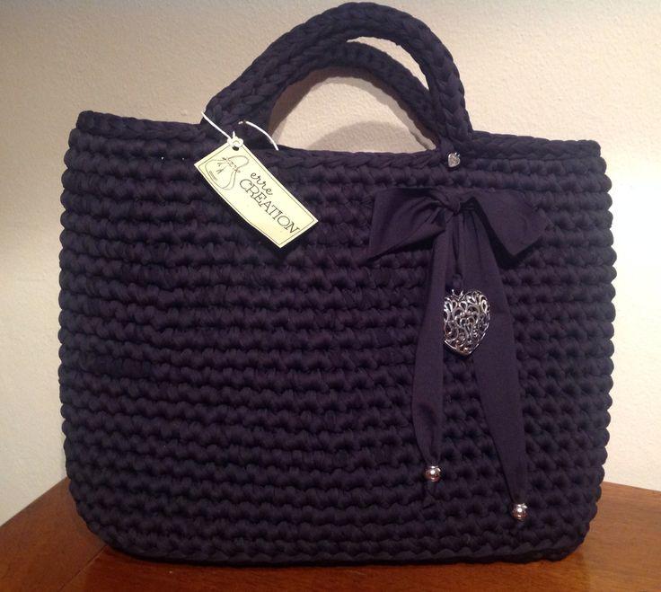 Borsa grande shopping nera #bag #borsa #fettuccia #black
