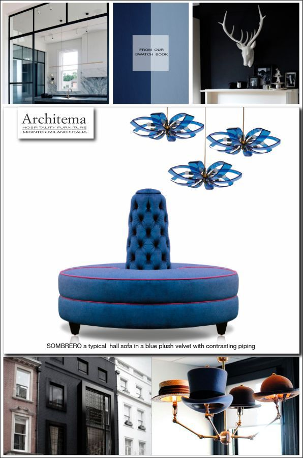 ARCHITEMA  - SOMBREO, a typical hall sofa upholstered in a plushy blue velvet with contrasting piping
