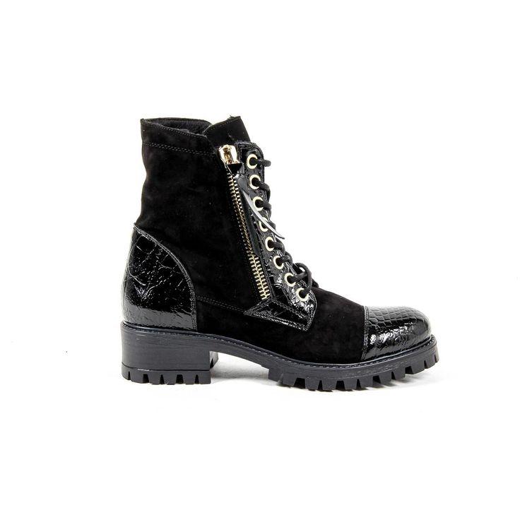 Versace 19.69 Abbigliamento Sportivo Srl Milano Italia Womens Short Boot B1476 CAMOSCIO COCCO NERO