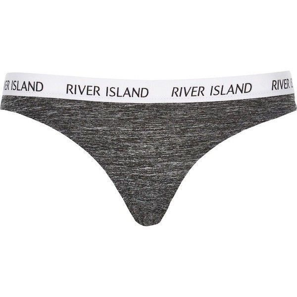 River Island Grey marl brief thong (295 RUB) ❤ liked on Polyvore featuring intimates, panties, sale, river island, grey thong and low rise thong