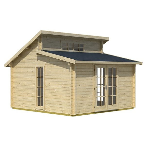 This Walton 39 S Rhodos Log Cabin Has A Unique Split Roof