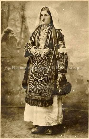Woman in festive costume from Kastoria, Macedonia Greece photo from the late 19th century.