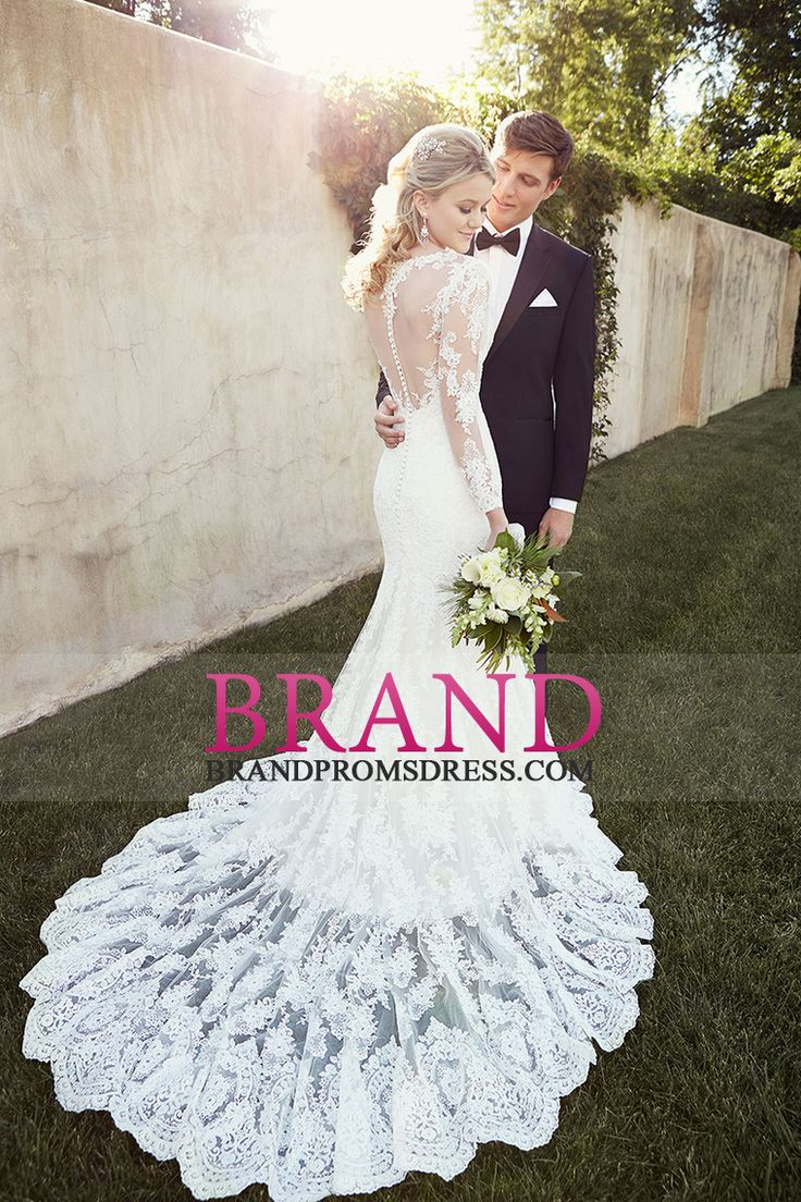 2015 Long Sleeves Bateau Memraid Tulle Wedding Dresses With Applique