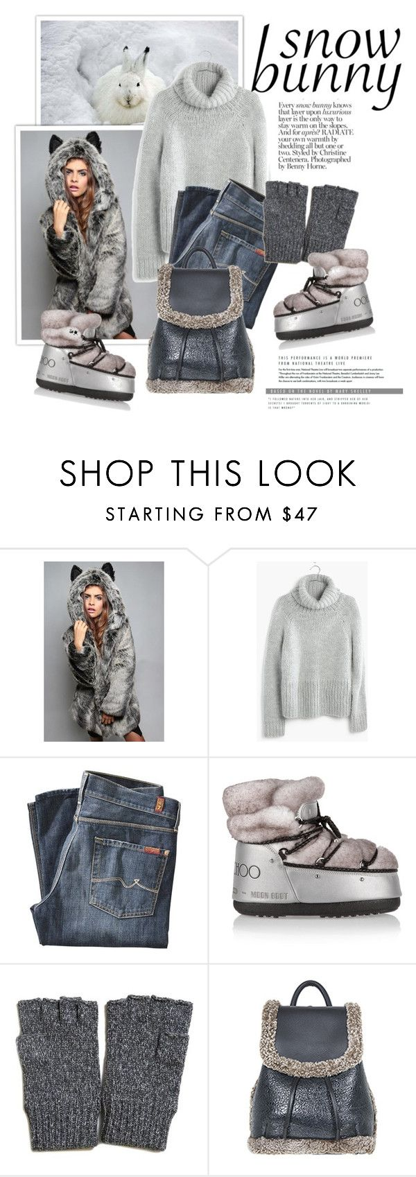 """""""Winter Fun: Snow Bunny Style"""" by cruzeirodotejo ❤ liked on Polyvore featuring Madewell, 7 For All Mankind, Moon Boot, rag & bone and snowbunny"""