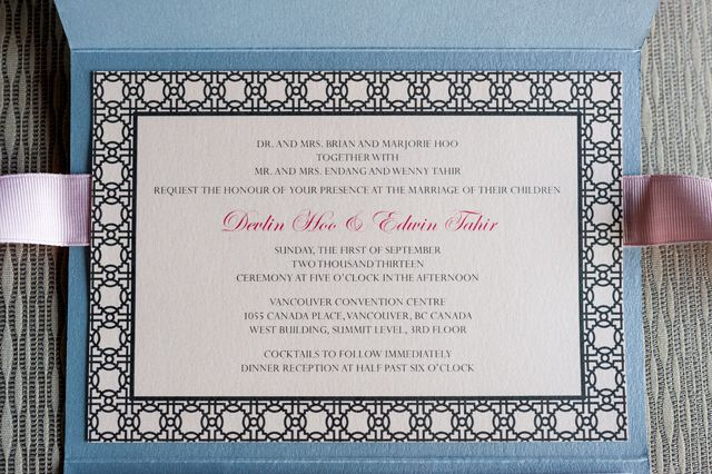 Custom Wedding Stationery : Classic + Elegant Pocket Style : Devlin + Ed : Ceremony and reception card