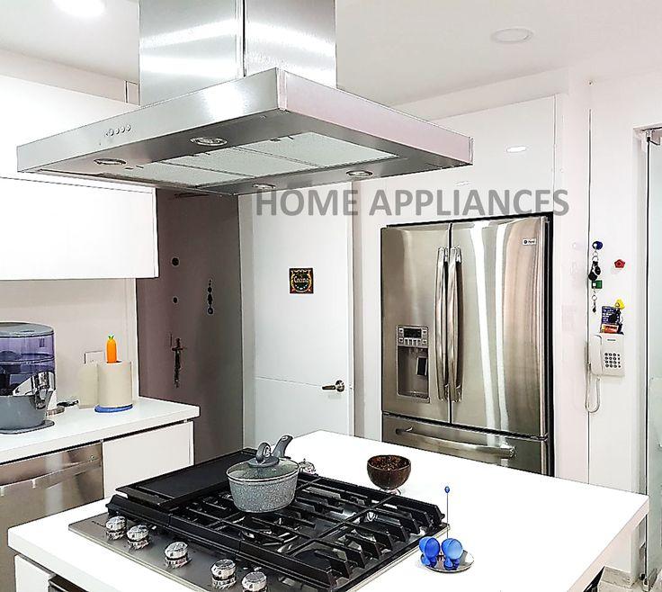 Diseña tu cocina con nosotros ¡Home Appliances! #Cocinas #kitchen #home #desing #art #homeappliances #Electrodomesticos #Campanas #isla #persianas #muebles #estufas