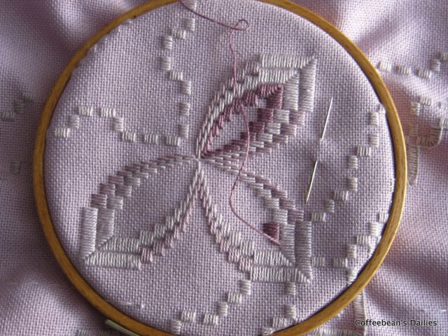After Sunday's Hardanger meeting; the ladies helped me understand how to read the pattern and I took pictures of Sandra's blue piece to foll...