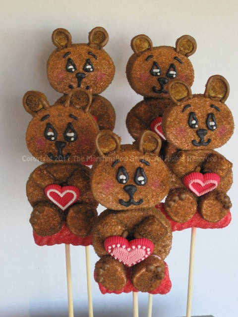 Teddy Bears #marshmallow #pop #favors #teddybear #valentines