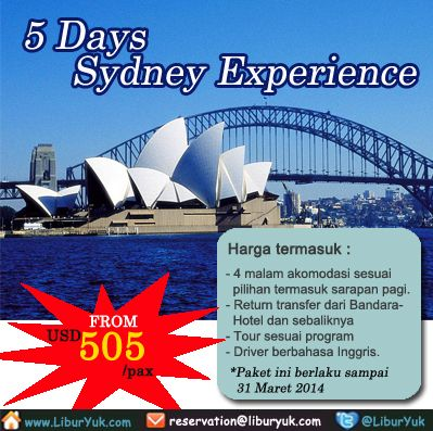 Bingung liburan mau kemana? Yuk jalan-jalan ke Sydney saja, anda akan diajak menjelajahi Blue Montain dan melihat kehidupan alam bebas daratan Australia dengan pilihan tour menarik lainnya. Kini tersedia paket 5 Hari Sydney Experience.Booking sekarang juga dan dapatkan diskon spesialnya!  Dapatkan Special Paket tersebut dari LiburYuk.com di http://liburyuk.com/promotional-package/book/57712749/5-DAYS--SYDNEY-EXPERIENCE  #abbeytravel #jalan2 #holiday