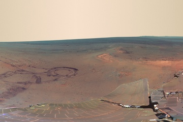 Opportunity Rover Pancam Panorama -- 817 component images taken between Dec. 21, 2011, and May 8, 2012, taken by Mars Rover Opportunity combine in this image. Image released July 5, 2012.  CREDIT: NASA/JPL-Caltech/Cornell/Arizona State Univ.