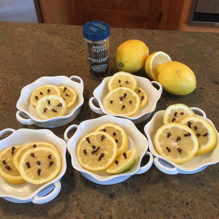 Bug repellent in summer...lemon slices with cloves! It works!